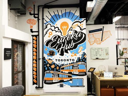 Murals by Leslie Phelan Mural Art + Design seen at Eureka Hub, Toronto - Eureka Moments Only
