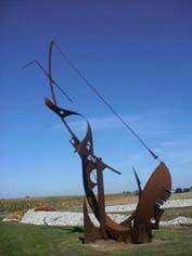 """Public Sculptures by VINCENT seen at 1075 Rue Paul Foucaut, Sin-le-Noble - """"Drunken Boat"""""""
