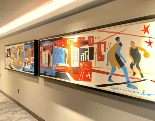 Murals by Brian Barneclo seen at Chase Center, San Francisco - Points in the Paint (mural)
