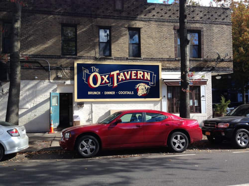 Murals by Very Fine Signs seen at The Ox Tavern, Brooklyn - Ox Tavern Logo and Billboard