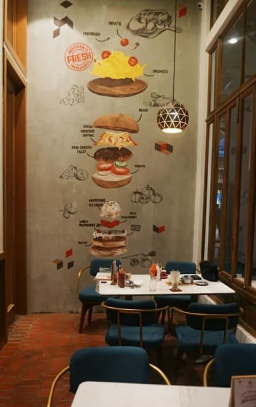 Murals by Hujan Buatan seen at Pancious Nipah Mall Makassar - Sandwiches
