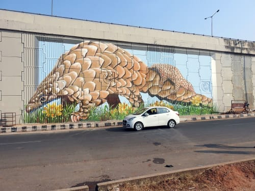 Street Murals by Anat Ronen seen at Bhubaneswar, Bhubaneswar - The pangolin