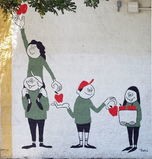 "Murals by Yusuke Hanai seen at Tenth Street Elementary School, Los Angeles - ""Better together"""