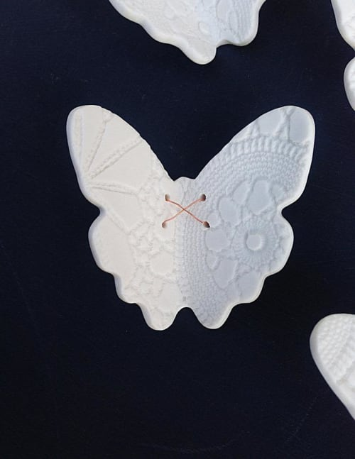 Art & Wall Decor by Elizabeth Prince Ceramics seen at Private Residence, Manchester - Lace Wings - Set of 21
