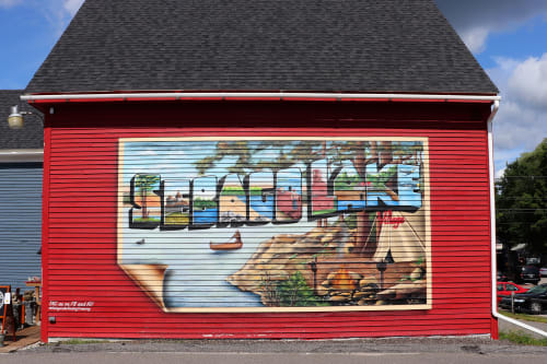 Murals by Jared Goulette   The Color Wizard seen at Sebago Lake Trading Company, Standish - Sebago Lake Trading Company exterior Mural