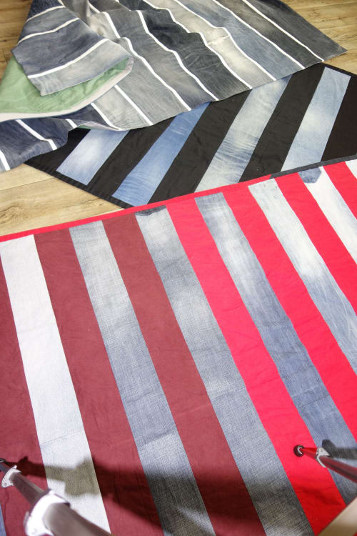 Wall Hangings by DaWitt seen at Private Residence, Los Angeles - Denim stripe quilt