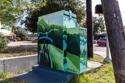 Street Murals by Studio Jexxi seen at West Little York Road & Antoine Drive, Houston - Utility Box Mural
