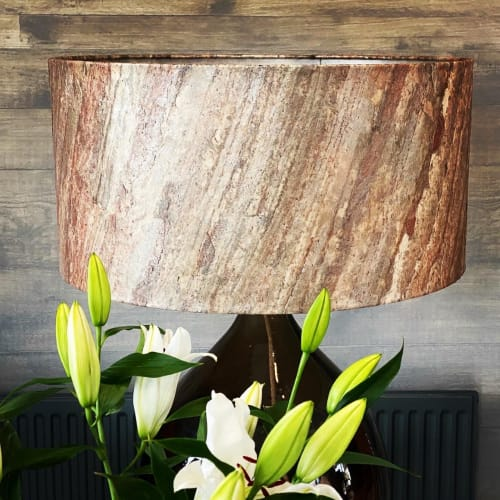 Lamps by QLA Interiors seen at Ulverston, Ulverston - Copper Real Stone Translucent Lampshade