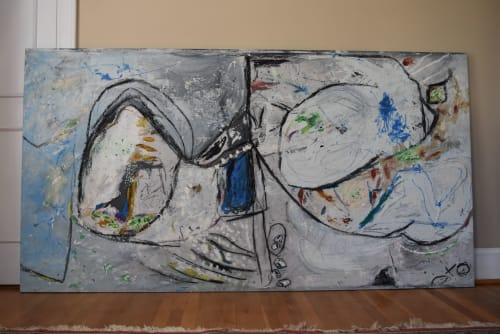 "Paintings by Michael Patterson ""push paint studios"" Charlotte NC USA seen at Private Residence, Charlotte - Octopus Courtship.  49"" x 92""    modern abstract large canvas."