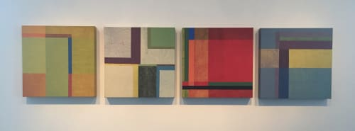 Paintings by Ellen Richman at Private Residence, Minneapolis - Geometric Color Series, Red, Yellow, Blue, Green and Mixed