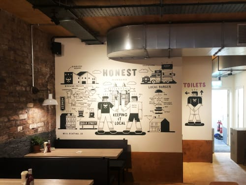 Murals by Neil Keating seen at Honest Burgers Liverpool, Liverpool - neil keating