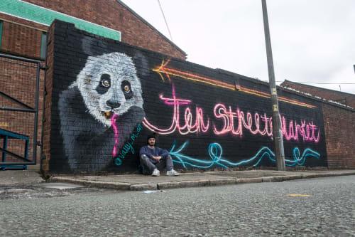 Murals by Vally_M_Art seen at Liverpool, Liverpool - Neon Panda (Ten Streets Market)