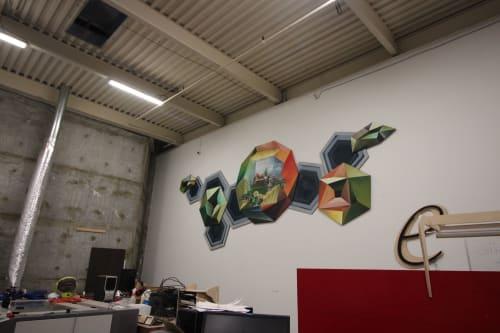 Murals by HUMAN SHAPED ANIMAL seen at Idea Fab Labs Santa Cruz, Santa Cruz - Emerging to Form