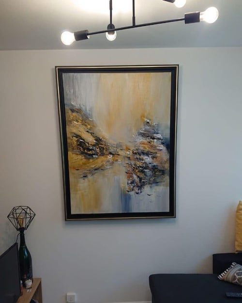 Paintings by Maryam Ebrahimi seen at Creator's Studio, Toronto - Next Day 36x36 on Canvas comes with black or white frame.