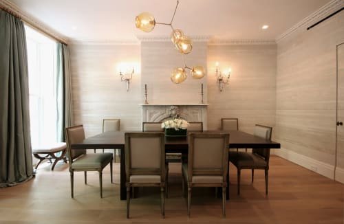 Wallpaper by Callidus Guild seen at Private Residence, New York - Linear -Light Champagne and Linear - Caviar