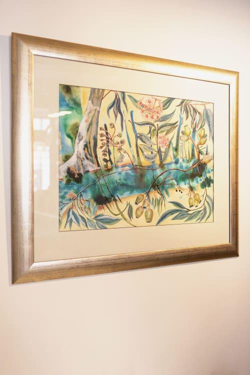 Paintings by Amy Hooton seen at Merienda, Stockbridge - Eucalyptus Gumnut Flowers