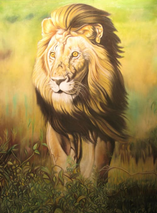 Murals by Hani Shihada seen at Private Residence, New York - A lion