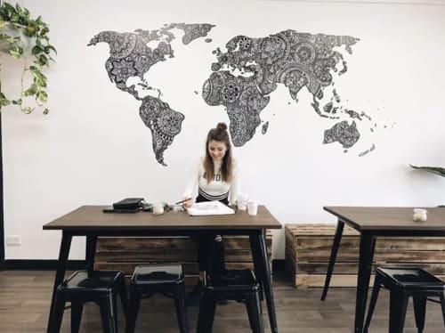 Murals by Danni Simpson Art seen at Miami, Miami - Quade & Co World Map