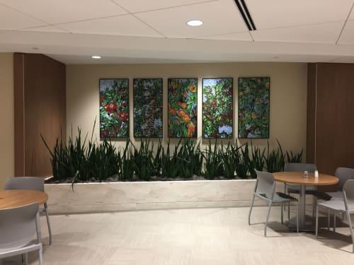 "Murals by DSouza Mosaics seen at Bright Horizons at St. Joseph Mercy Hospital Oakland, Pontiac - ""Michigan Orchards Perspectives"""