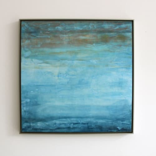 Paintings by Linda Cordner seen at Creator's Studio, Boston - Winter Sky Encaustic Painting