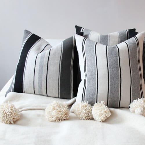 Linens & Bedding by l'aviva home seen at Private Residence, New York - Moroccan Pom Pom Blanket