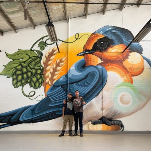 Murals by JAMIN seen at Welcome Swallow Brewery, New Norfolk - Mural