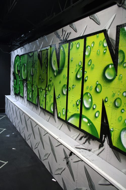 Murals by Jared Goulette   The Color Wizard seen at World Gym, Portland - World Gym interior spinning room Mural
