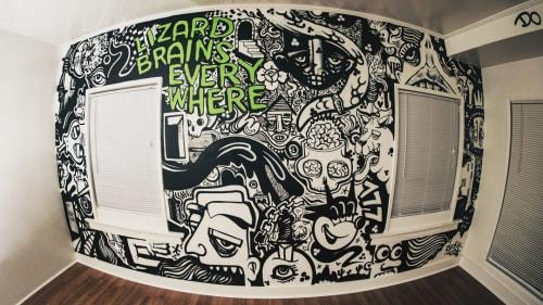 Paintings by Berk Visual seen at Private Residence, Los Angeles - Lizard Brains