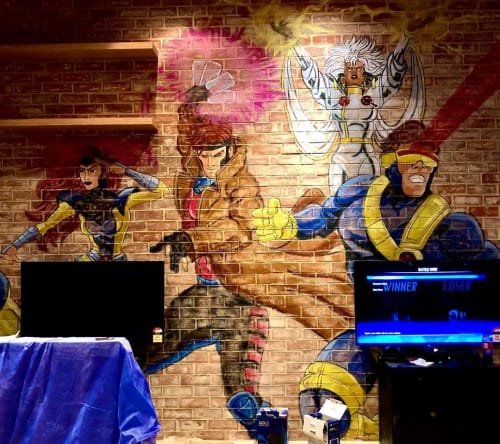 Murals by Ashley McNeil seen at Marvel Stadium, Docklands - X-Men mural