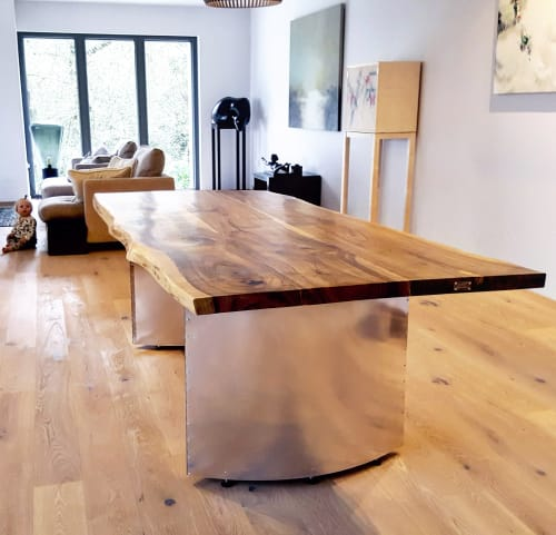 Tables by Handmade in Brighton seen at Private Residence, Chapel Row - Live-Edge European Walnut + Elliptic Legs