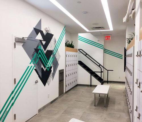 Murals by LAMKAT seen at SWERVE Fitness UES, New York - Swerve Fitness Geometric Mural