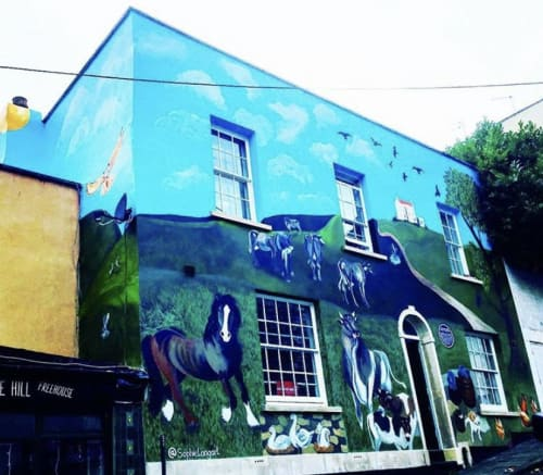 Street Murals by Sophielongart seen at Private Residence, Cotham - Cow Byre and History of Redcliff