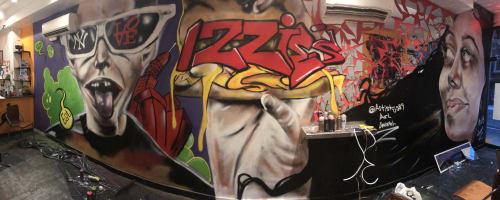 Murals by Carl J Gabriel seen at Izzies Cheesesteaks NYC, New York - Izzies Cheesesteak