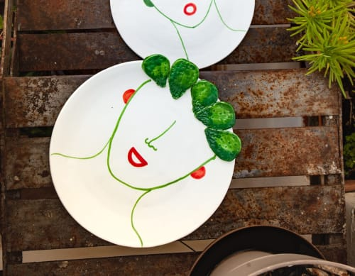 Ceramic Plates by Patrizia Italiano seen at Creator's Studio - Carmelina plate with reliefs
