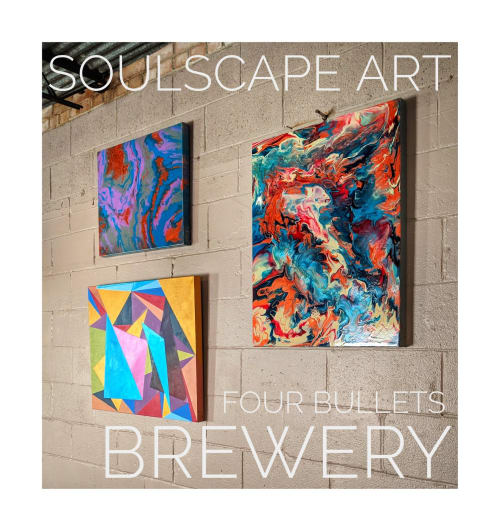 Paintings by Soulscape Art seen at Four Bullets Brewery, Richardson - Local Art Wall