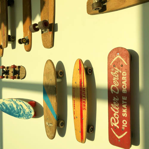 "Wall Hangings by ANTLRE - Hannah Sitzer seen at Google RWC SEA6, Redwood City - ""Skateboards"