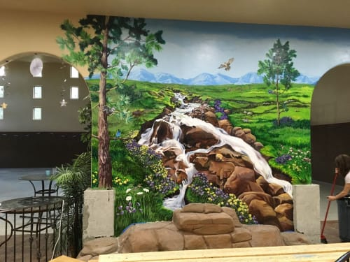 Murals by Mural Art Designs seen at Black Forest by Wedgewood Weddings, Colorado Springs - Landscape mural