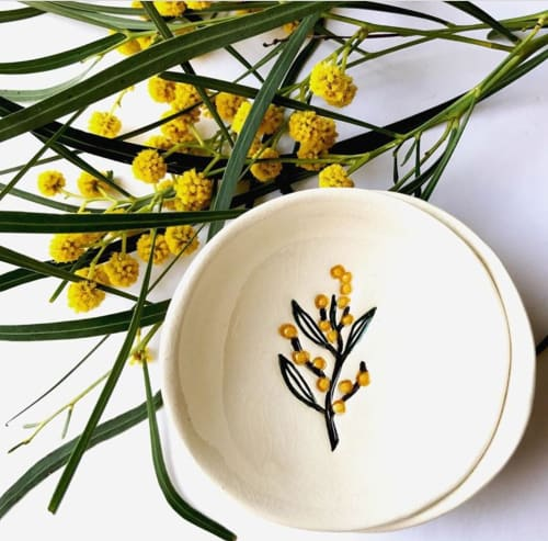 Art & Wall Decor by RJ Crosses Ceramics seen at Private Residence, Adelaide - 'Scent of Eucalyptus' ring dish - Wattle