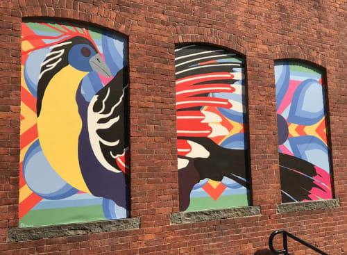 Murals by Toni Miraldi / Mural Envy, LLC seen at La Mitad del Mundo, Danbury - Migration