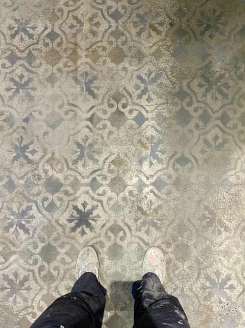 Tiles by Elsa Jeandedieu Studio seen at The Pizza Project - Faux Aged Tile Paint Effect