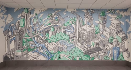 Murals by Nigel Sussman seen at The Leamington, Oakland - Leamington Gym Mural