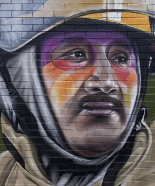 Street Murals by Tymon de Laat seen at Old Fire Station, Carlisle - Bombero Silvestre