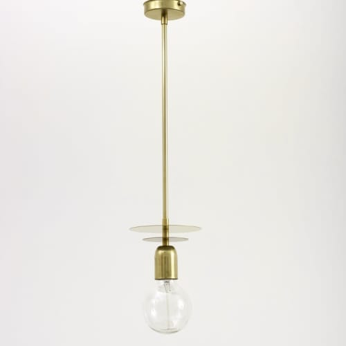 "Pendants by Spark & Bell seen at Private Residence, Brighton - ""Aureole"" Brass Pendant Light with Brass Tube"