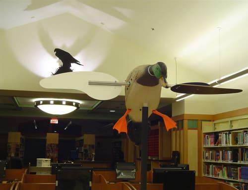 Public Sculptures by Kipp Kobayashi seen at Live Oak Branch Library, Santa Cruz - The Birds