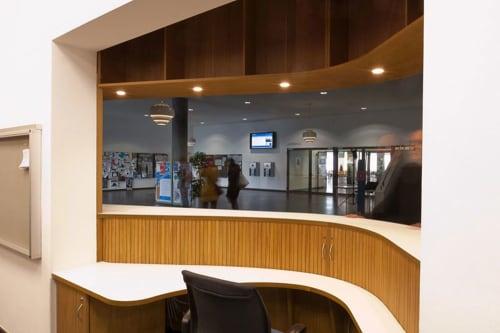 Furniture by Lorenz+Kaz seen at Freie Universität Bozen, Bolzano - Welcome Desk