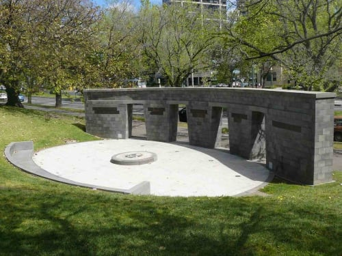 Public Sculptures by Anton Hasell seen at Police Memorial, Melbourne - Victoria Police Memorial