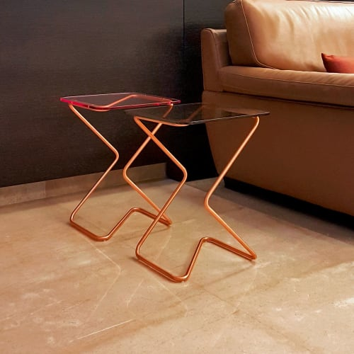 Tables by KRAY Studio by Rita Kettaneh seen at Private Residence, Hbous - The Square in Copper Finish