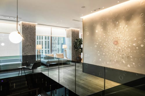 Wall Treatments by Elsa Jeandedieu Studio at California Tower - Copper Leaf Starburst