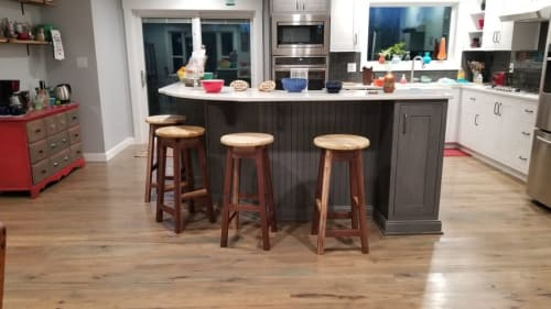 Furniture by Colonial Blade and Wood seen at Private Residence, Radcliff - Walnut and Spalted Maple Barstools
