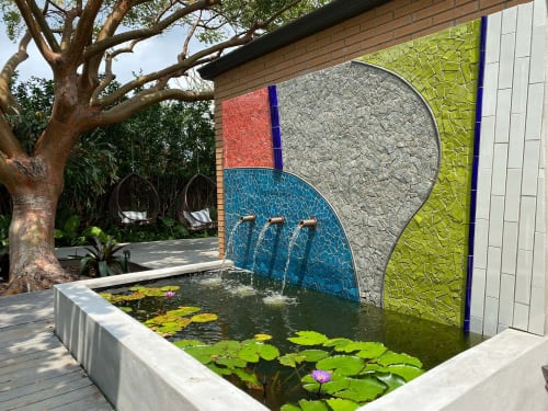 Art & Wall Decor by Debra Yates seen at Private Residence, Fort Lauderdale - Lily Pond and Mosaic Wall